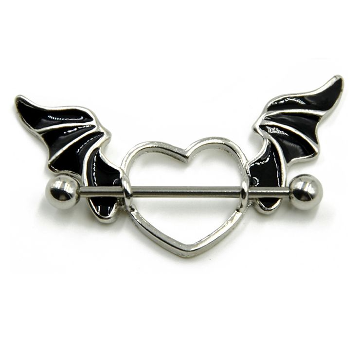 Stainless Steel Bat Wing Nipple Rings //Price: $10.95 & FREE Shipping //        Stainless Steel Bat Wing Nipple Rings          *Condition: 100% Brand New *No Harm to Human Body *Style: Angle Heart Wing Nipple Ring *Main Material: 316L Stainless Steel with