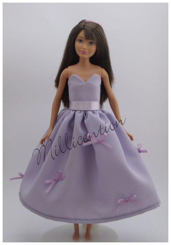 Lilac silk Skipper doll gown with bows
