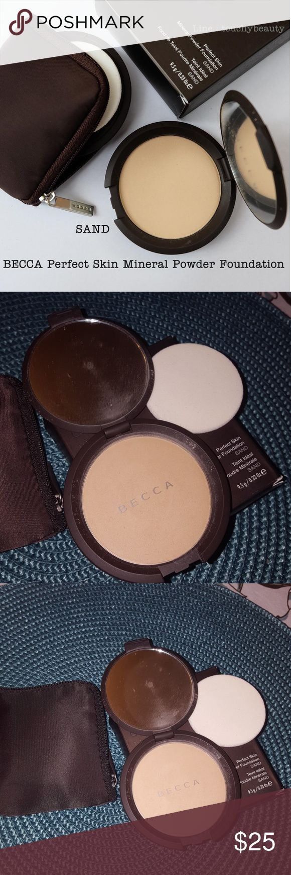 Becca Perfect Skin Mineral Powder Foundation Pure mineral foundation by Becca in the shade Sand.Brand New. Never used. Mineral pigments are pressed into this silky powder to deliver buildable coverage that feels light, looks fresh all day and leaves skin with a soft, luminous finish. This water-resistant formula, enriched with antioxidant vitamins lasts all day. Does not contain parabens phenoxyethanol, oil, fragrance, alcohol, chemical dyes, talc, or other fillers. BECCA Makeup Foundation
