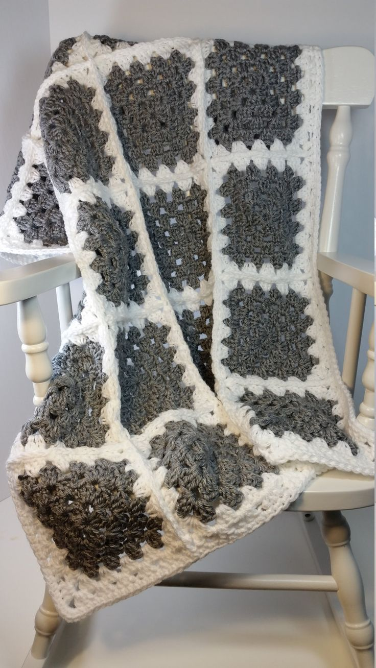 Crochet Baby Blanket Grey White Granny Square Stroller Size Car Seat Cover Ready…