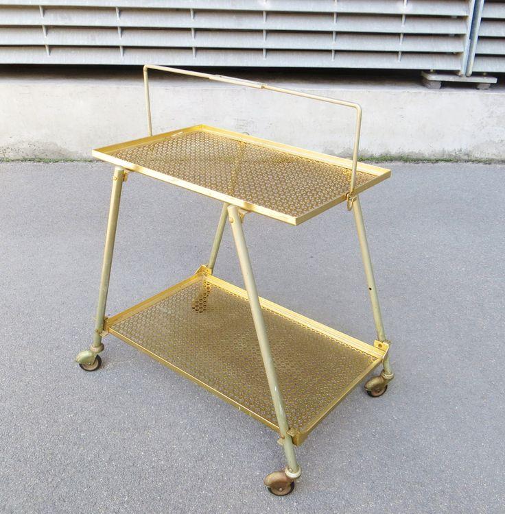 Table pliante roulante années 1950 dans le style de Mathieu Matégot de la boutique ArtmanAnticsParis sur Etsy