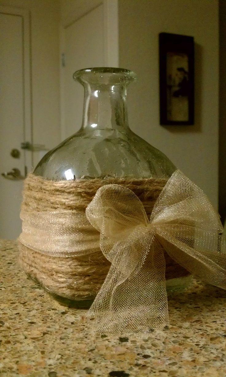 Upcycled patron bottle vase