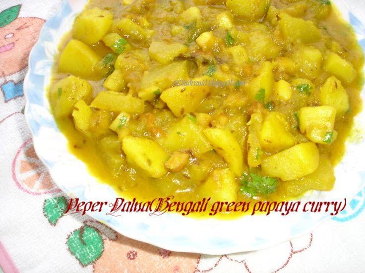 Recipe Junction: Appyayan : Peper Dalna (Bengali green papaya Curry)