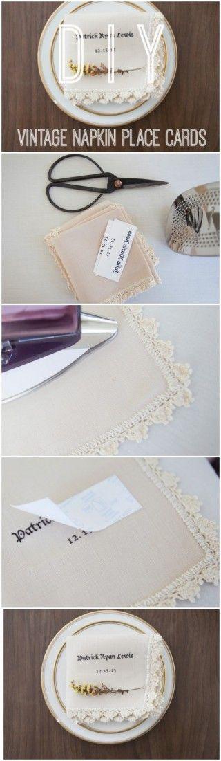 DIY Vintage Napkin Place Cards