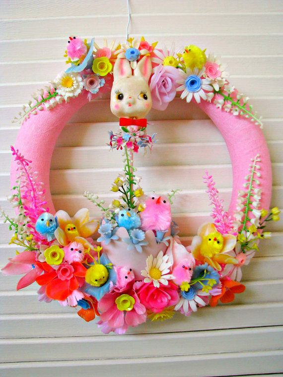 Vintage Easter Springtime Wreath PRETTY by dimestorechic on Etsy, $36.00