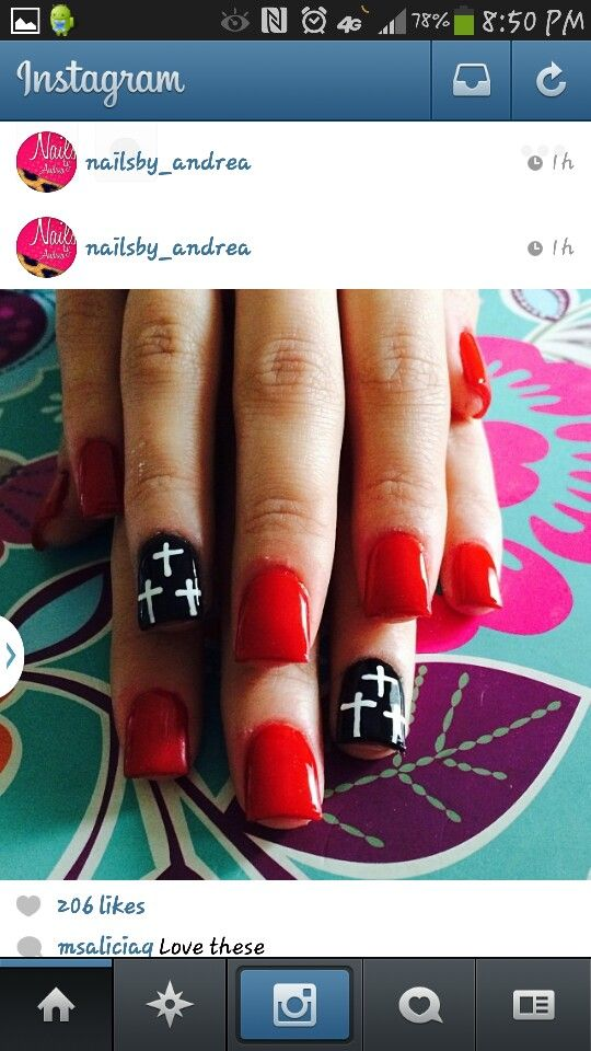 Red nails red and black cross nails