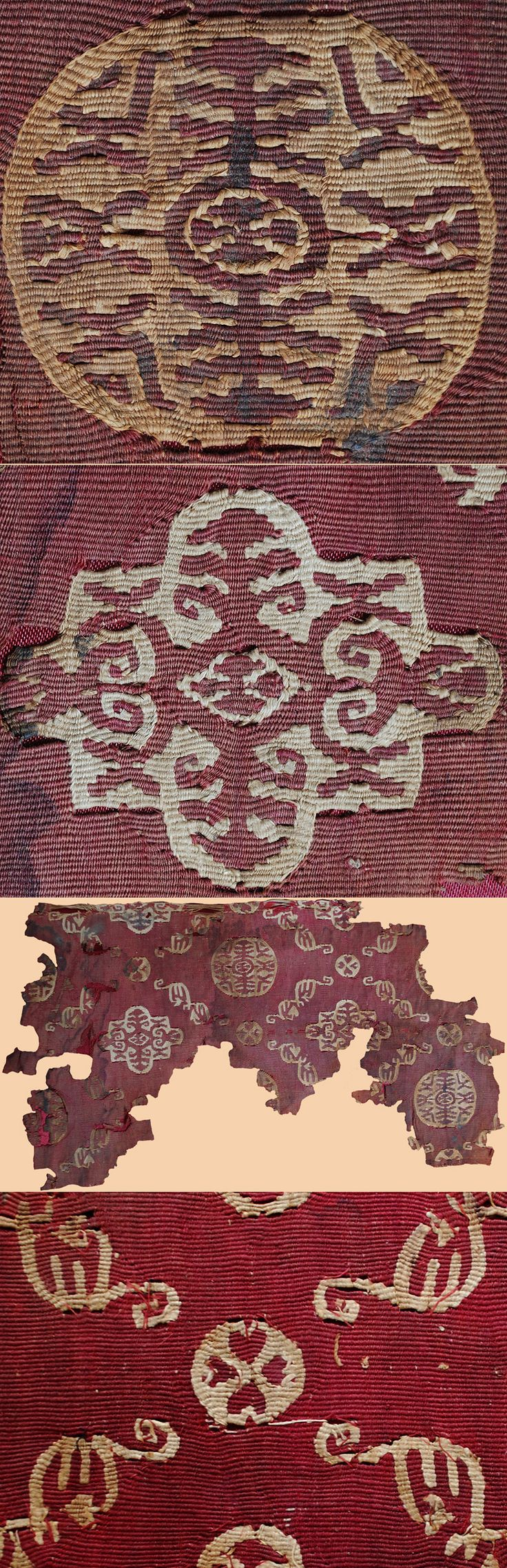 Antique Persian Sassanid Textile. Roundel fragment, ca. 224-651 A.D. Weft-faced slit-tapestry work, with a tan linen warp, and a woollen warp of dyed and undyed threads.