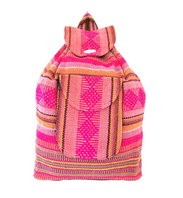 """This bag feels like a total throwback to our 1990s junior high days... what goes around comes around!  These backpacks are bright neon pink with yellow, orange and green accents and are made from an acrylic/cotton/polyester blend.  They are made on a small pueblo called Cuetzalan, Mexico. Measurements: Approximately 14.5"""" x 11.5"""" x 3.5""""*Patterns, colors and stitching may vary slightly due to handmade nature of this product."""