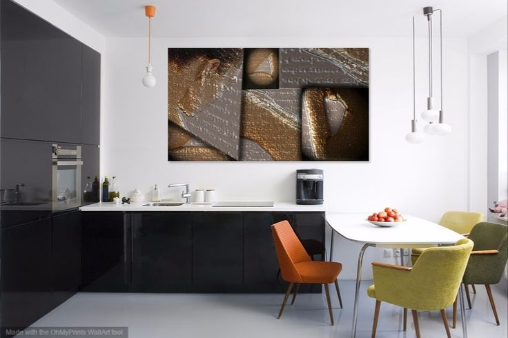This digital artwork is so practical in the kitchen because it is printed on aluminum. #Copper #brass & #silver #metals are all very in at the moment.