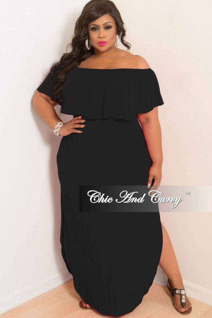 09302a10b5b25 Final Sale Plus Size Off the Shoulder Ruffle Long Pocket Dress with Side  Slits in Black