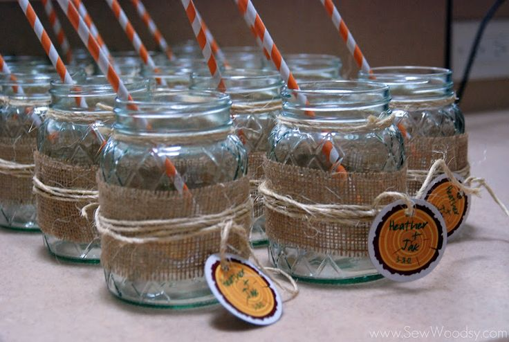 DIY Burlap wrapped mason jars