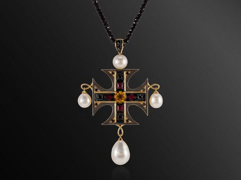 Dionea Orcini - La Croce - Maltese Cross Pendant | 18K Yellow gold cross set with the finest black diamonds, rubies, citrine and pearls. Held by a black spinel necklace.