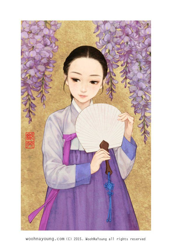 한복 Hanbok : Korean traditional clothes[dress] | WOOHNAYOUNG[흑요석] — Wisteria flower 등나무꽃 소녀 Digital drawing, 2015...