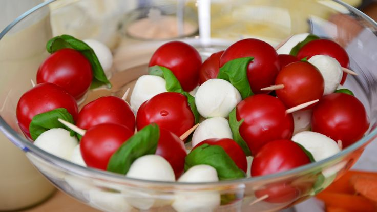 mozzarella ball cheese, cherry tomatoes