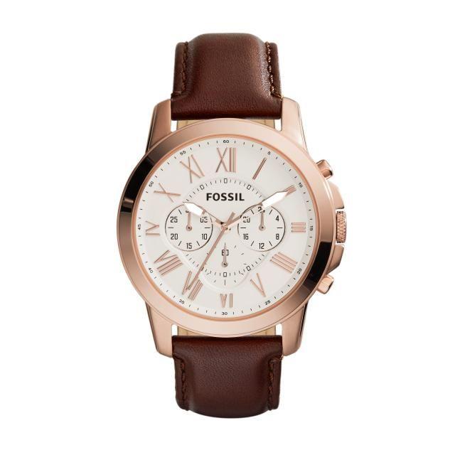 FOSSIL HORLOGE fs4991 | Klassiek, stijlvol herenhorloge met bruine band en rosé gouden horlogekast | http://www.horlogesstyle.nl/fossil-horloges #fossil #herenhorloges