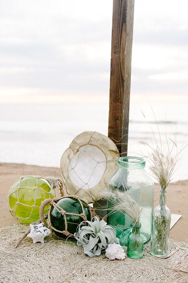 beach wedding decor - photo by John Schnack Photography http://ruffledblog.com/seaside-wedding-inspiration-shoot