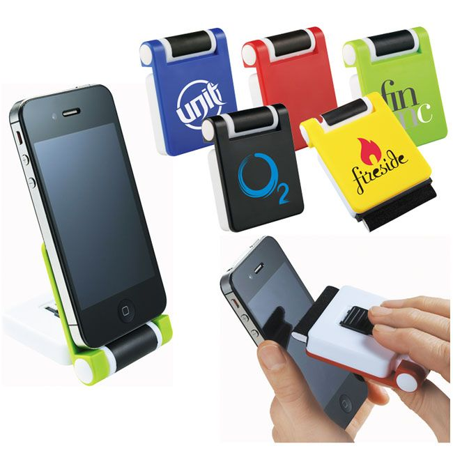 I need this.      Cell phone holder with a built in screen cleaner to get rid of muck and fingerprints!!    Imprint with your logo to keep yourself in the forefront of their mind!!   Simply flip open top cover to create stationary phone holder with rubberized grip.   Plastic slide on back of item exposes microfiber screen cleaner.