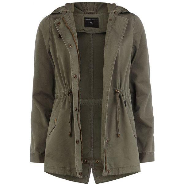 Khaki short parka jacket ($79) ❤ liked on Polyvore