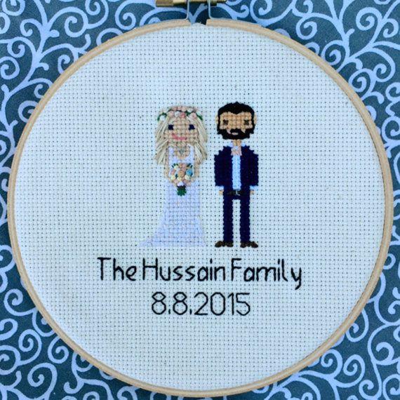 Custom Family Portrait Cross Stitch Birth by NoBasicStitches