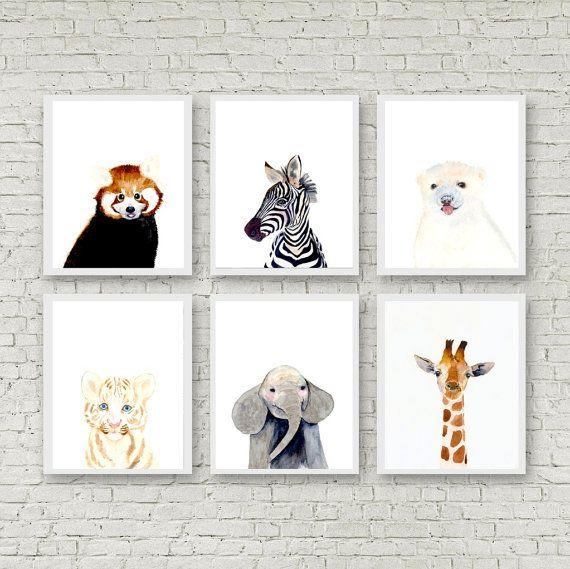 Dierlijke portret instellen, Set van 6 prenten, olifanten, zebra, giraffe, witte tijger, rode panda, ijsbeer, bosrijke kwekerij set, Safari kwekerij set