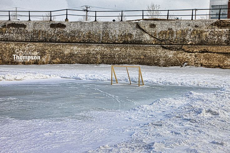 The lonely hockey net - lachine canal.