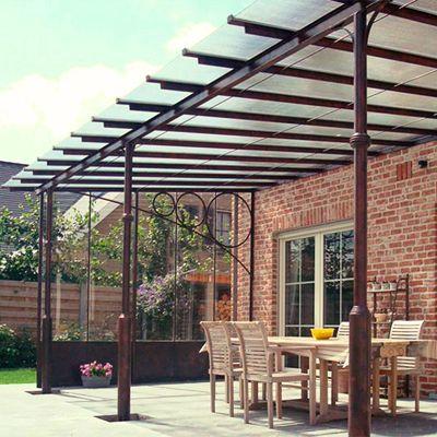 25 beste idee n over luifel op pinterest rustieke portieken terrasoverkapping en - Overdekte patio pergola ...