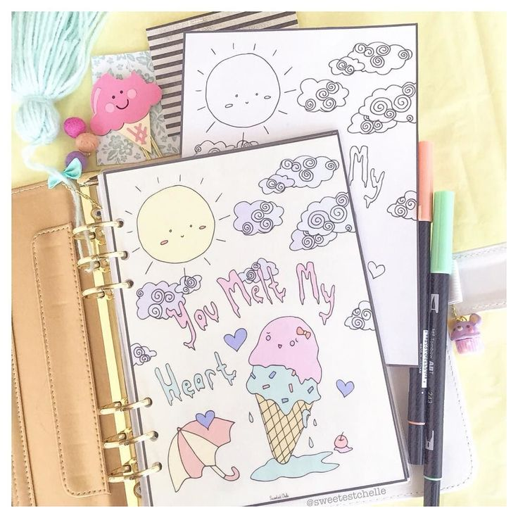New printable planner dashboard! Look at the cute melting ice cream! Black and white version of this printable is also available for those who likes colouring! Check them out on Etsy! #plannerdashboard #colouringforadults