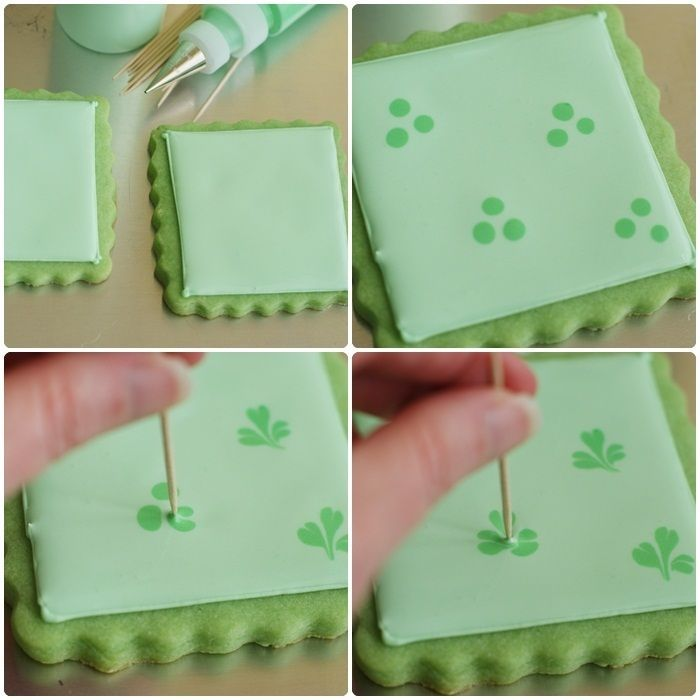 """For the other cookies, I had this """"great"""" idea to make shamrocks from dots. In reality, they look more like flat leaf parsley or cilantro. On the bright side, if you ever need to make cilantro cookies, you'll know how."""