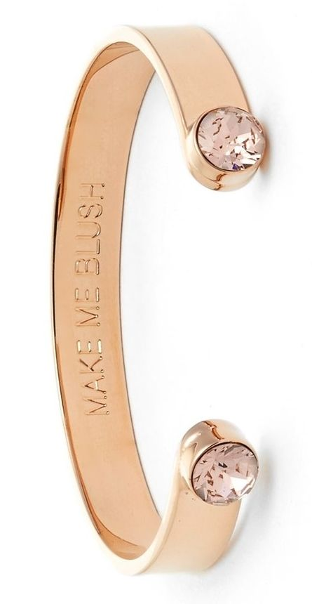 Gushing over this Rose gold Kate Spade 'make me blush' crystal cuff spotted while browsing the Anniversary Sale.