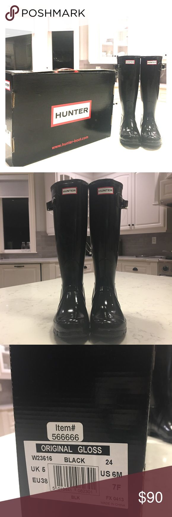 Hunter original gloss NWY size 6 boots These is a pair of original gloss black NWT size 6 hunter boots. Some scratch marks but never been worn. These have been sitting inside the box for months. Hunter Boots Shoes Winter & Rain Boots