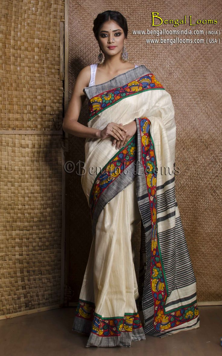 Handloom Giccha Tussar Silk Saree with Hand Painted Kalamkari Border in Beige