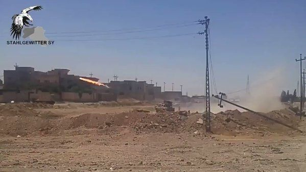 TOS-1A and Type 63 MLRS shelling in western Mosul in support of Iraq's 9th armoured army division.