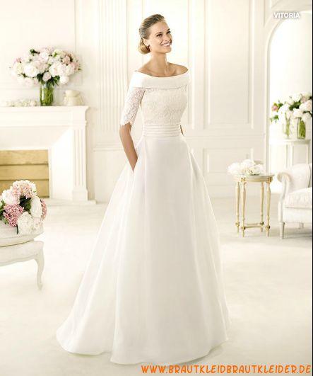 Elegante Brautkleider aus Satin mit halb Ärmel A-Linie online kaufen 2013
