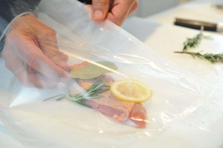 Salmon in vacuum-bag before cooking it Sous-Vide