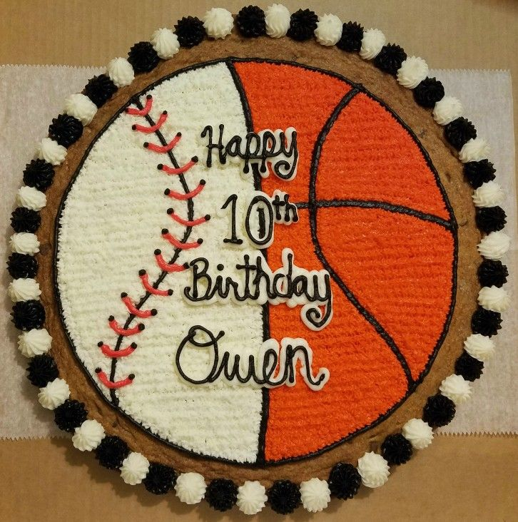 Baseball And Basketball Cookie Cake Cookie Cake Birthday Cookie