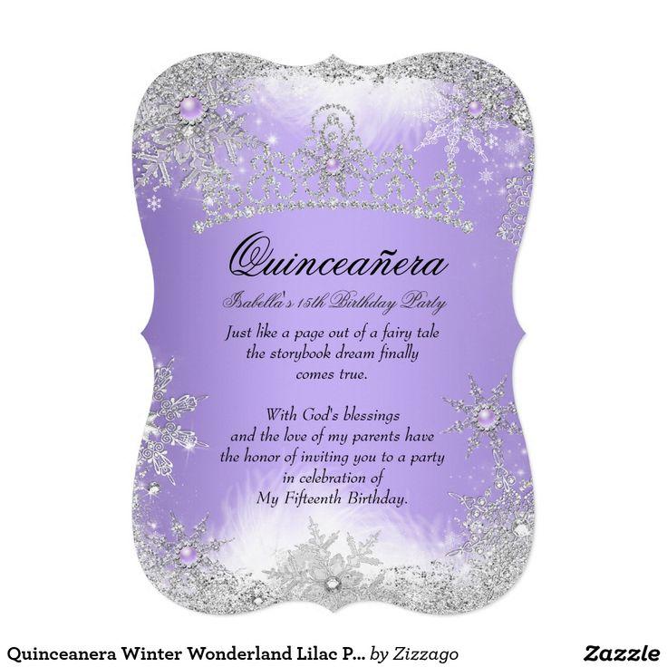 586 best quinceanera invitations images on pinterest texts quinceanera winter wonderland lilac purple snow 5x7 paper invitation card stopboris Images