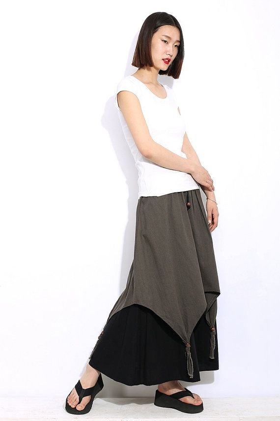 Linen skirt women skirt long skirt by YL1dress on Etsy