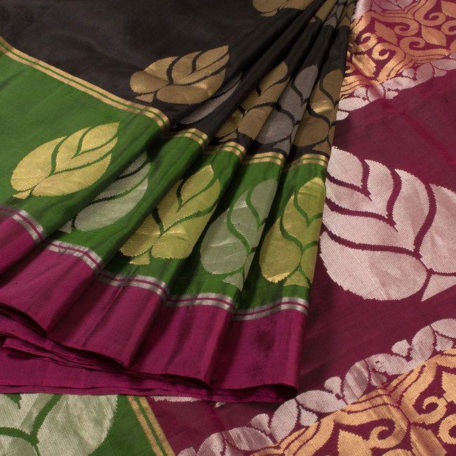 Buy online Handwoven Black Silk Saree With Floral Motifs 10013710