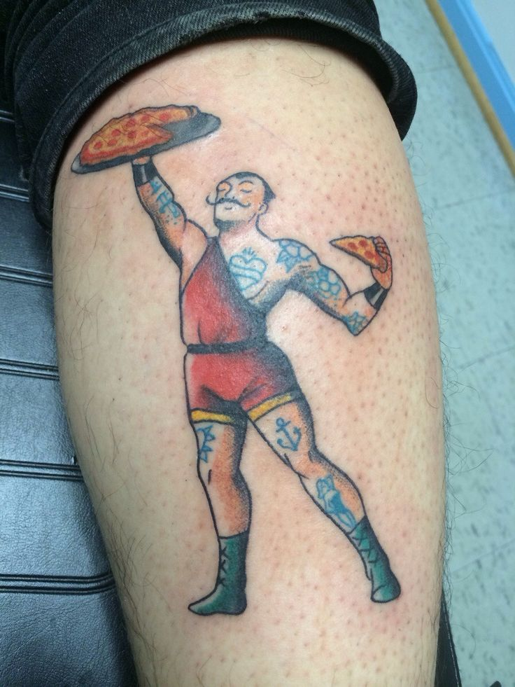 Traditional pizza strongman by Amanda at Gemini Tattoo; Odenton, MD.