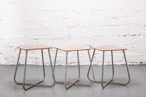 Tubular steel and plywood school stools c.1950.  If you like this check out our shop http://industrialthings.com/