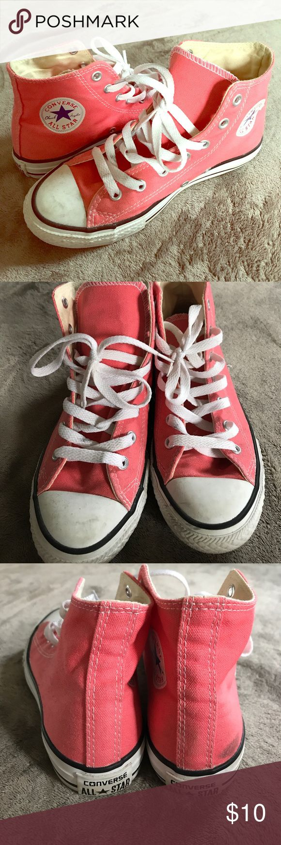 MOVE OUT SALE 💖pink high top Converse Pink high top Converse. Size 3 kids but they fit me (I wear 6-6.5 women's shoes). They are just a tiny bit scuffed up in the back but have truthfully only been worn once or twice. I'll take reasonable offers:) Converse Shoes Sneakers