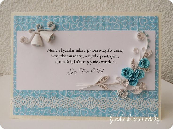Rękodzieło z pasją: Quilling na ślub - niebieski i róże