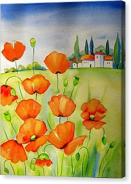 Tuscany With Poppies Canvas Print by Meltem Kilic