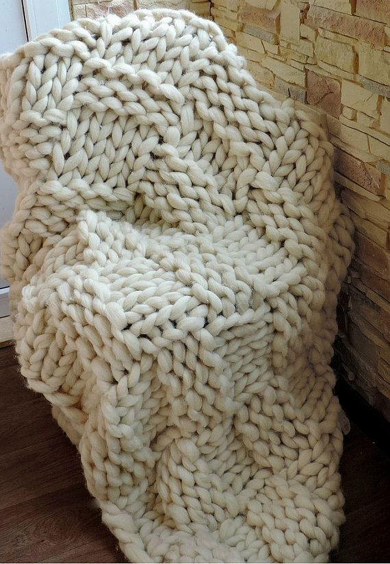 Knitting Pattern Chunky Wool Blanket : Chunky wool blanket Knit Blanket Chunky knitted by JennysKnitCo Knitted ite...