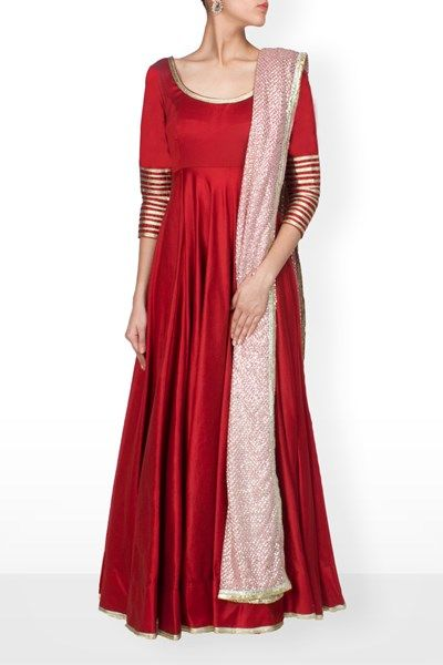 deep red anarkali with gotta on neck and sleeves,net dupatta with embroidery…