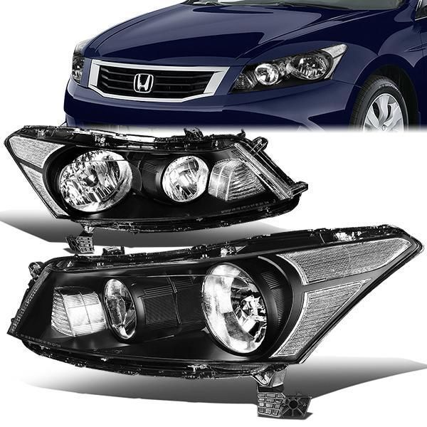08 12 Honda Accord Sedan Headlights Black Housing Clear Corner Honda Accord Headlights Honda