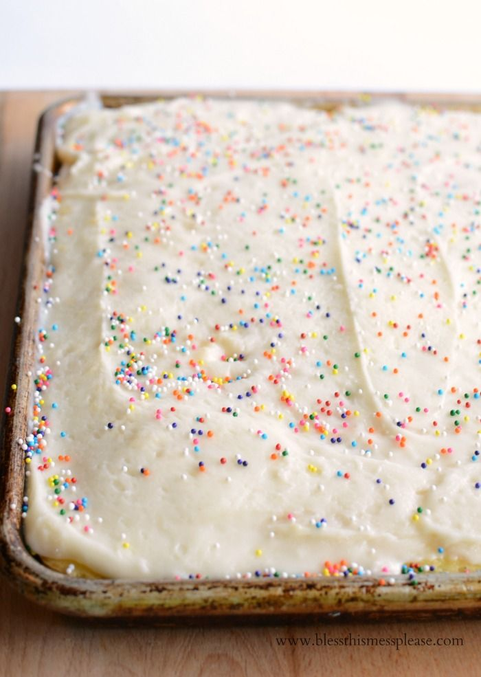 Quick and Easy Vanilla Sheet Cake Recipe - cheat a little with a box mix plus easy homemade icing and sprinkles for the win!