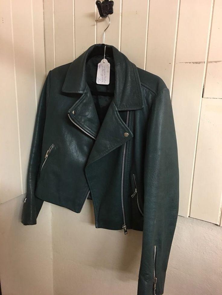 Turquoise Leather Jacket Size 12  | eBay