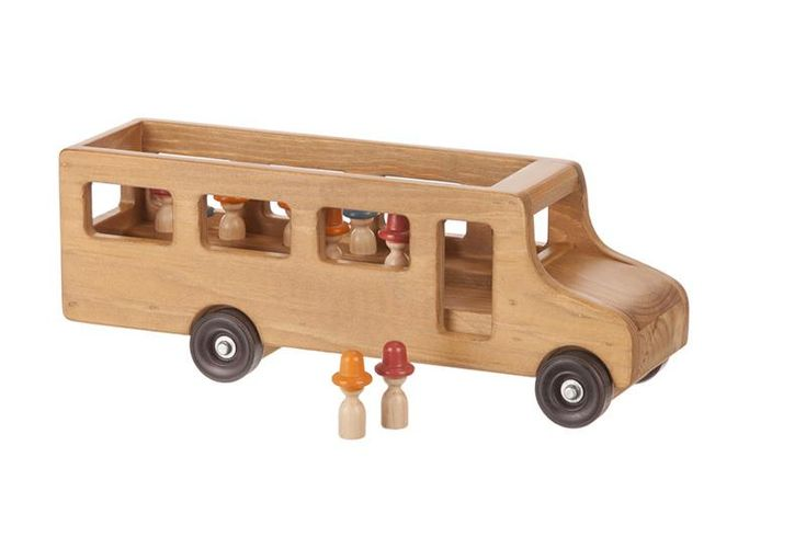 American Made Wooden Toy School Bus with Little People