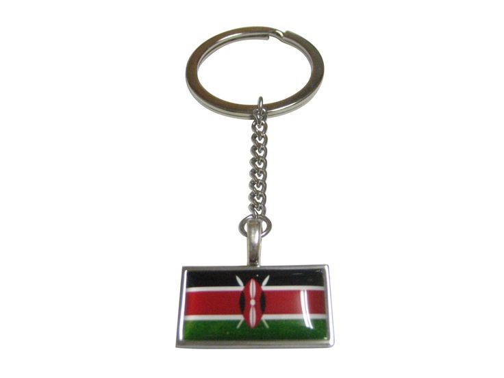 Thin Bordered Kenya Flag Pendant Keychain